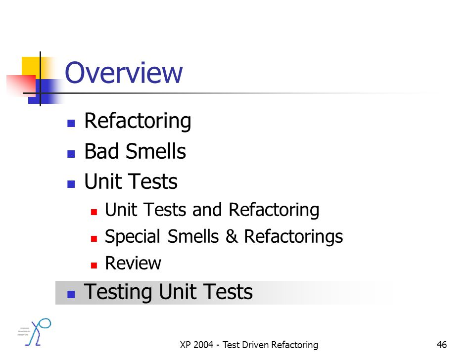 XP 2004 - Test Driven Refactoring46 Overview Refactoring Bad Smells Unit Tests Unit Tests and Refactoring Special Smells & Refactorings Review Testing Unit Tests