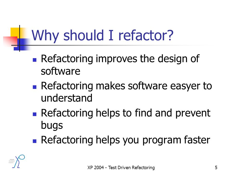 XP 2004 - Test Driven Refactoring5 Why should I refactor.