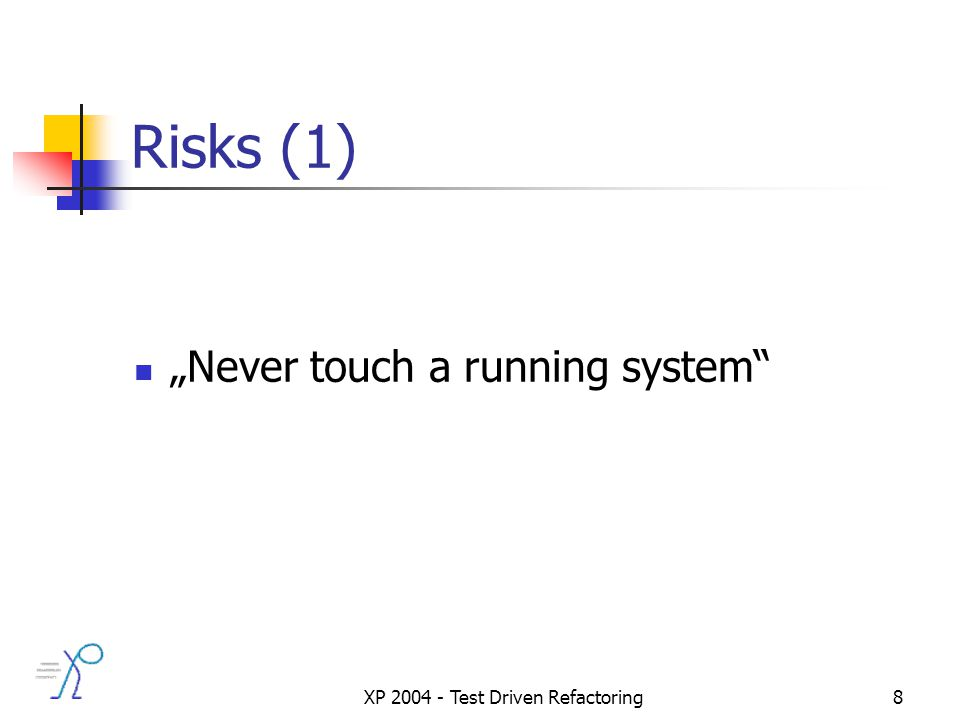 XP 2004 - Test Driven Refactoring8 Risks (1) Never touch a running system