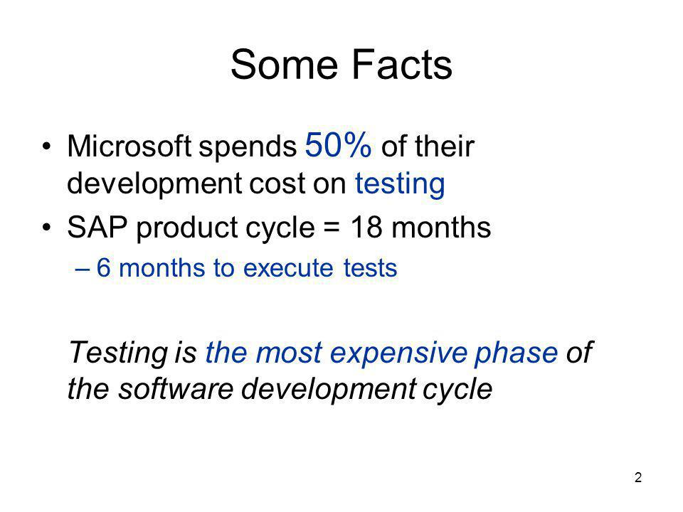 2 Some Facts Microsoft spends 50% of their development cost on testing SAP product cycle = 18 months –6 months to execute tests Testing is the most expensive phase of the software development cycle