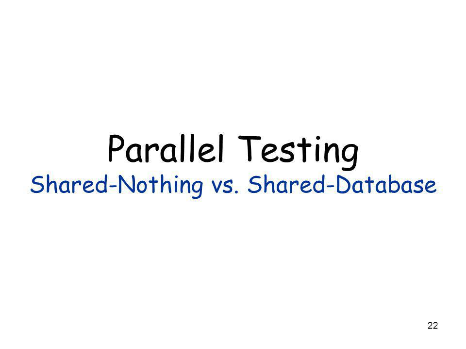 22 Parallel Testing Shared-Nothing vs. Shared-Database