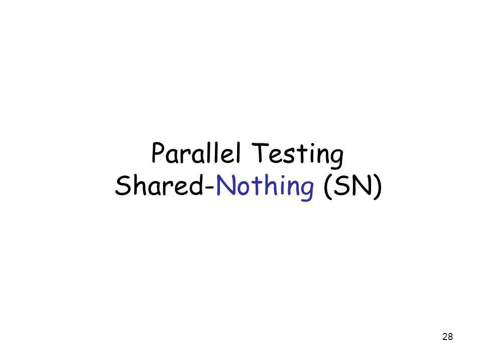 28 Parallel Testing Shared-Nothing (SN)