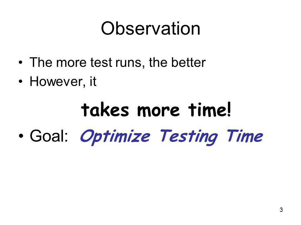 3 Observation The more test runs, the better However, it takes more time.