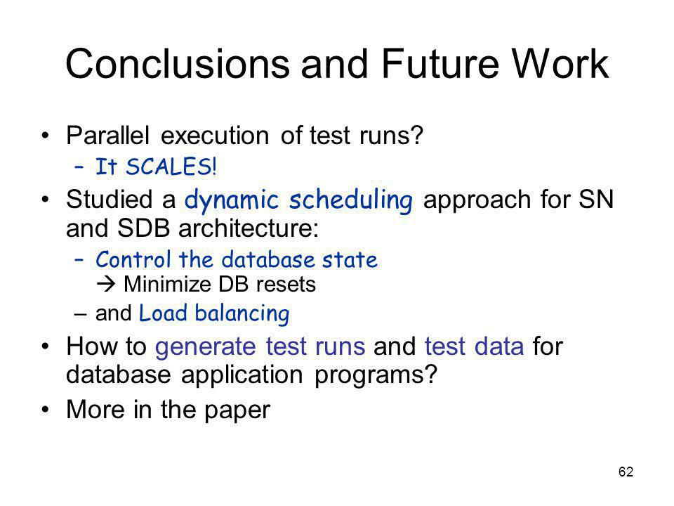 62 Conclusions and Future Work Parallel execution of test runs.