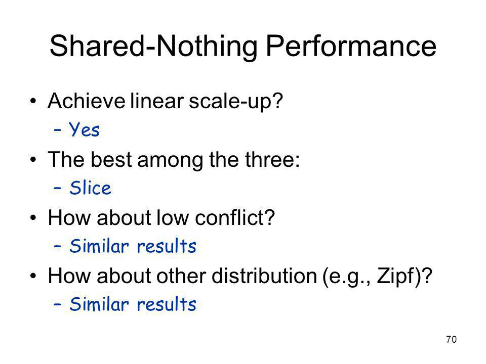 70 Shared-Nothing Performance Achieve linear scale-up.