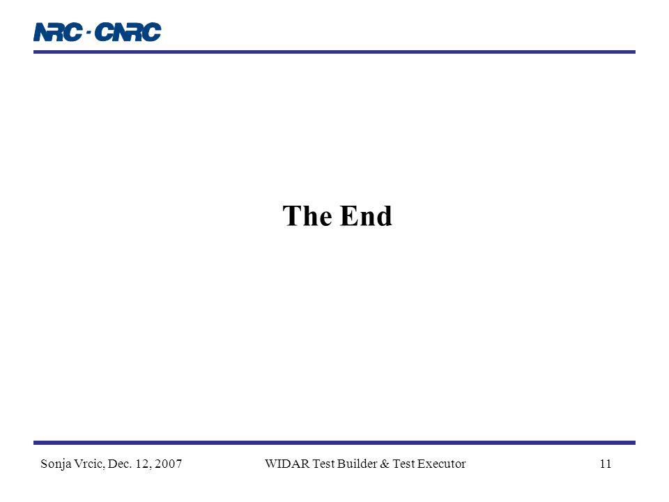 Sonja Vrcic, Dec. 12, 2007WIDAR Test Builder & Test Executor11 The End