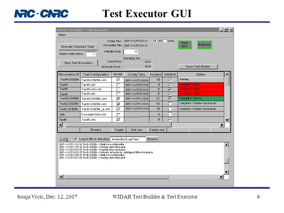 Sonja Vrcic, Dec. 12, 2007WIDAR Test Builder & Test Executor6 Test Executor GUI