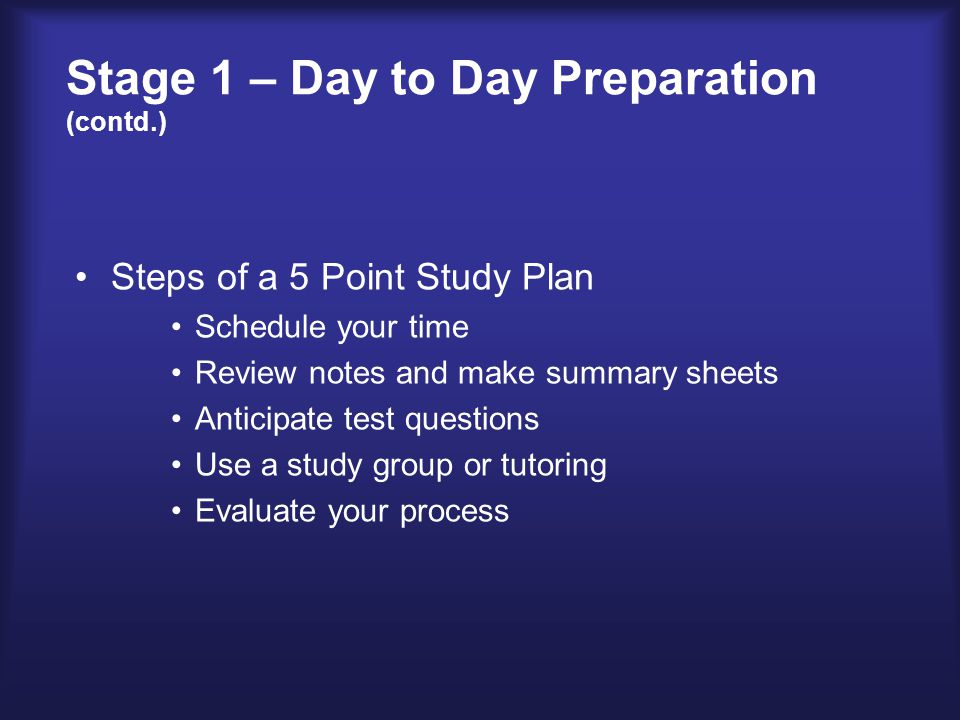Stage 2 – Concentrated Preparation Schedule time to study – 2 hours outside of class for every hour in class Review 3-5 minutes after class Study during daylight hours Make study schedule Review previous days notes Use strategies that fit your learning style Study for comprehension (reflection) Study in 50-minute increments