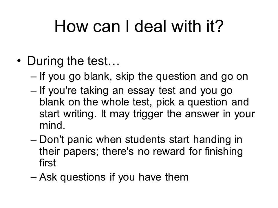 Essay on test anxiety