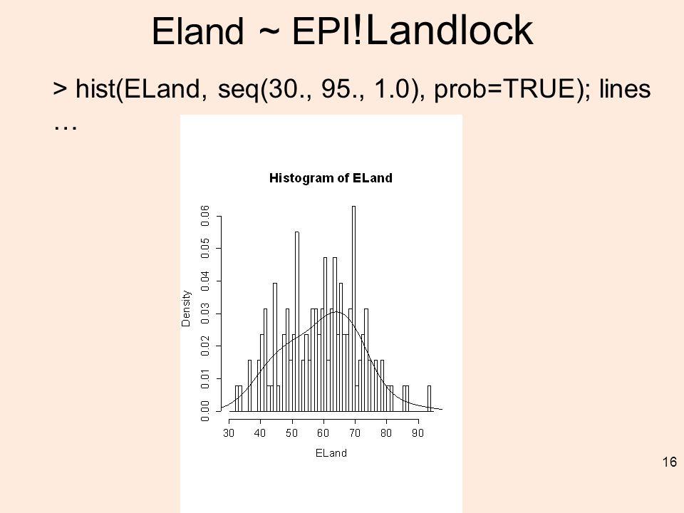 Eland ~ EPI !Landlock > hist(ELand, seq(30., 95., 1.0), prob=TRUE); lines … 16