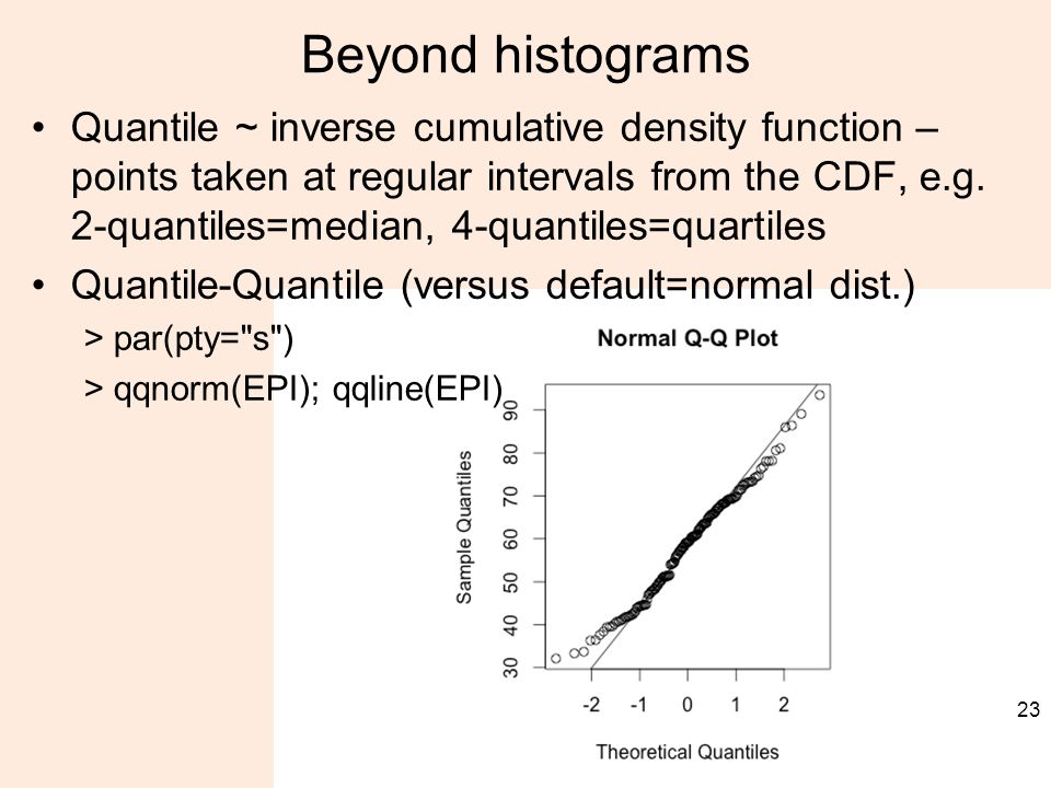 Beyond histograms Quantile ~ inverse cumulative density function – points taken at regular intervals from the CDF, e.g.