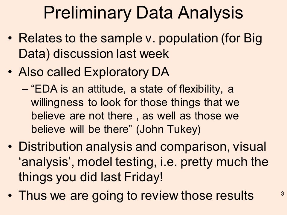Preliminary Data Analysis Relates to the sample v.