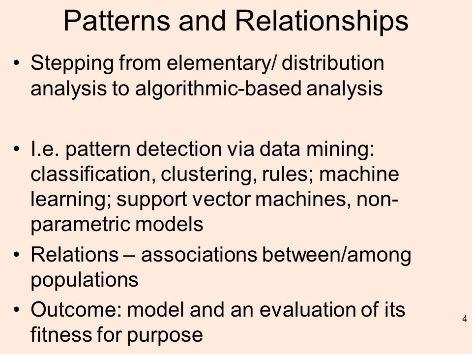 Patterns and Relationships Stepping from elementary/ distribution analysis to algorithmic-based analysis I.e.