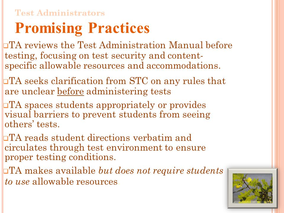 TA reviews the Test Administration Manual before testing, focusing on test security and content- specific allowable resources and accommodations.