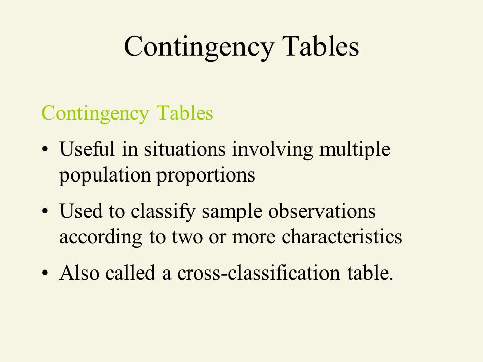 Contingency Tables Useful in situations involving multiple population proportions Used to classify sample observations according to two or more charac