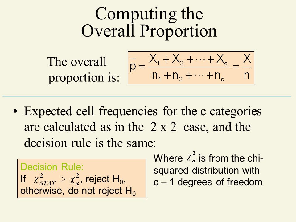 Computing the Overall Proportion The overall proportion is: Expected cell frequencies for the c categories are calculated as in the 2 x 2 case, and th