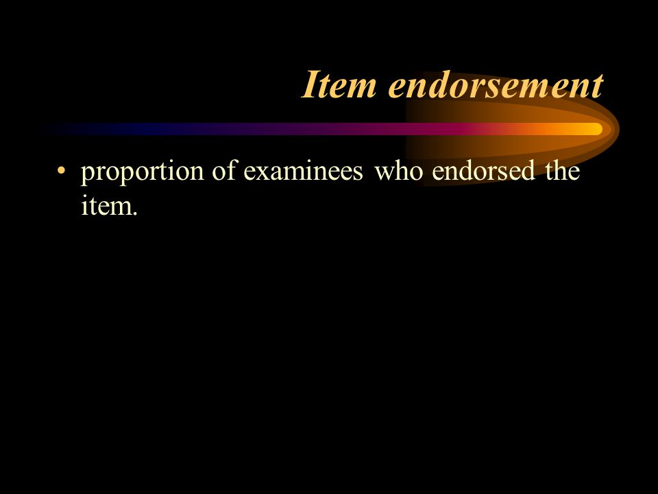 Item endorsement proportion of examinees who endorsed the item.
