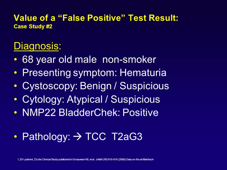 Value of a False Positive Test Result: Case Study #3 Diagnosis: 68 year old male with H/O smoking Presenting symptom: Hematuria Cystoscopy: No abnormality Cytology:Malignant Cells NMP22 BladderChek: Positive Upper tract imaging T2G2 Ca of ureter Nephroureterectomy 1,331 patient, 23 site Clinical Study published in Grossman HB, et al.