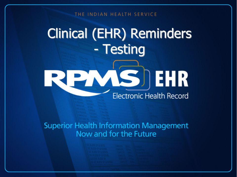 Clinical Maintenance Display