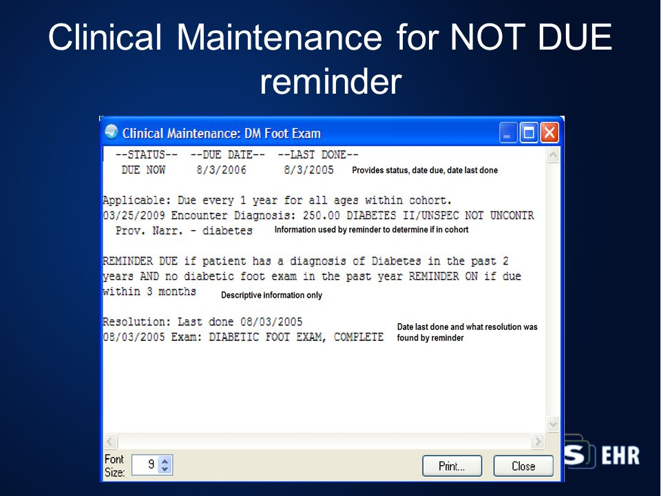 Clinical Maintenance for NOT DUE reminder