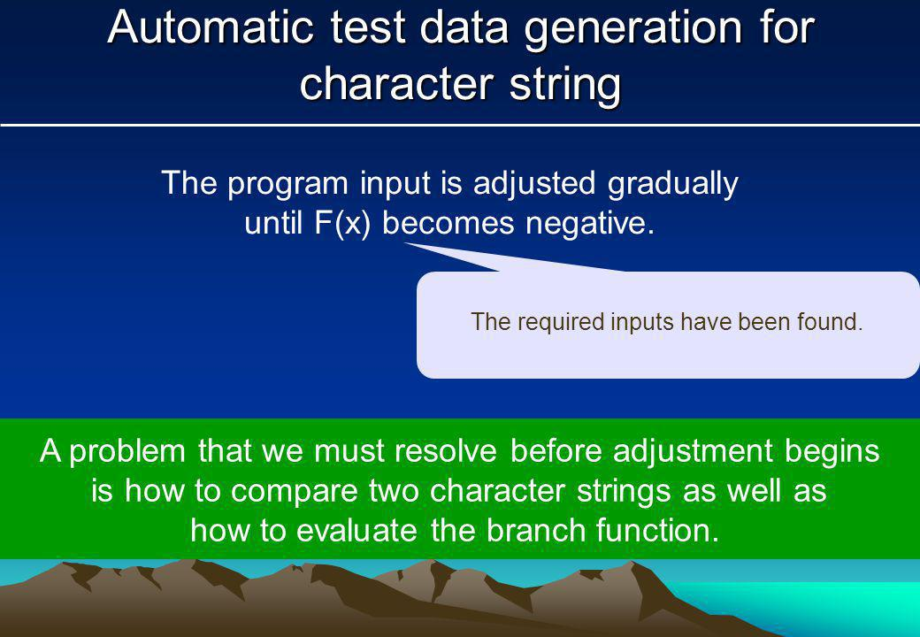 Automatic test data generation for character string The program input is adjusted gradually until F(x) becomes negative.