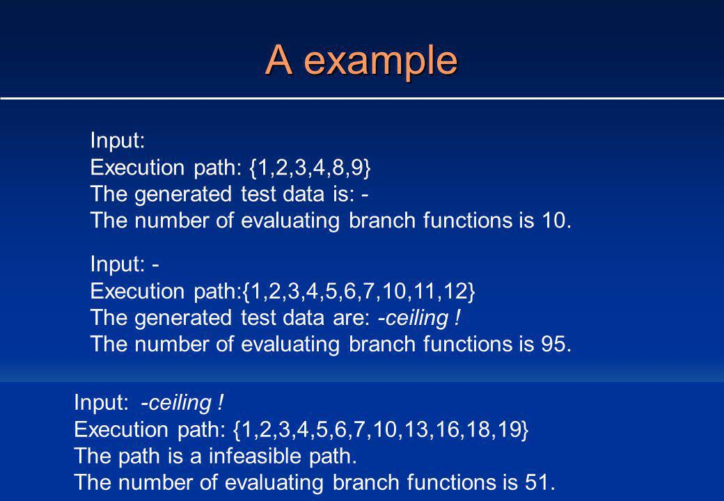 A example Input: Execution path: {1,2,3,4,8,9} The generated test data is: - The number of evaluating branch functions is 10.