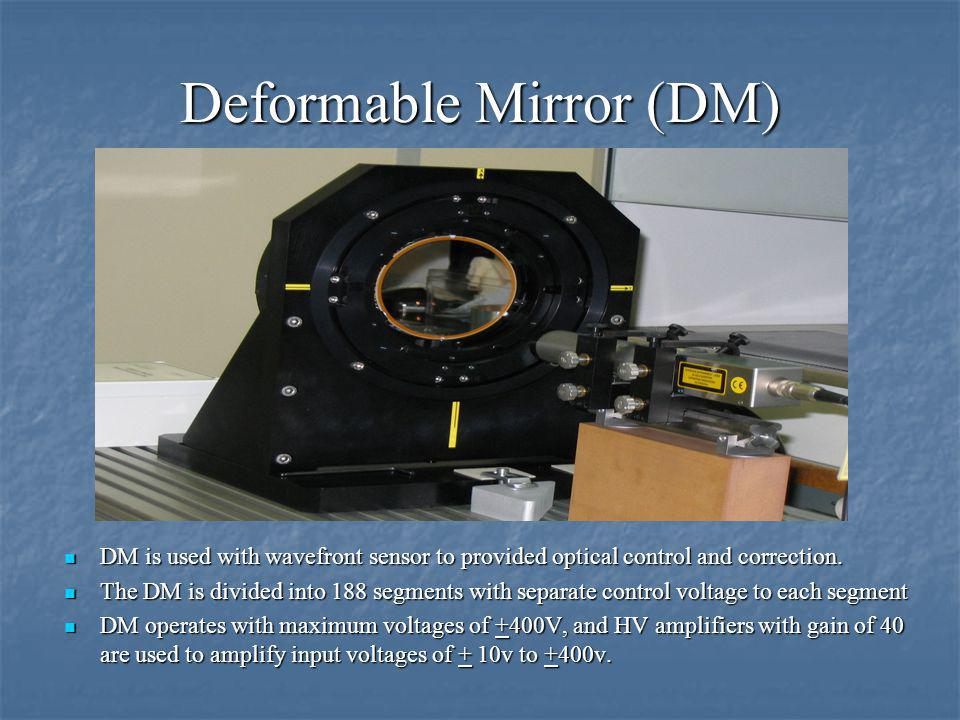 Deformable Mirror (DM) DM is used with wavefront sensor to provided optical control and correction.