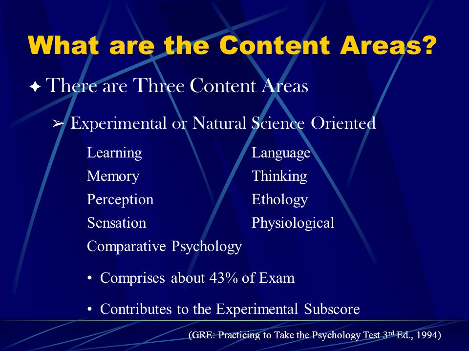 What are the Content Areas.