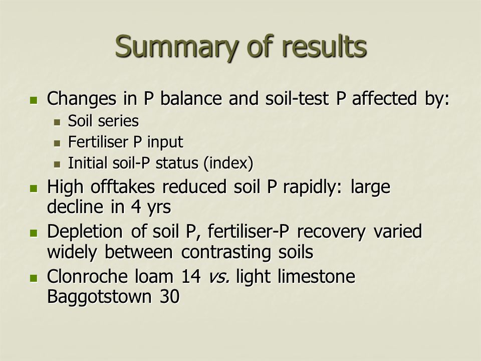 Summary of results Changes in P balance and soil-test P affected by: Changes in P balance and soil-test P affected by: Soil series Soil series Fertili