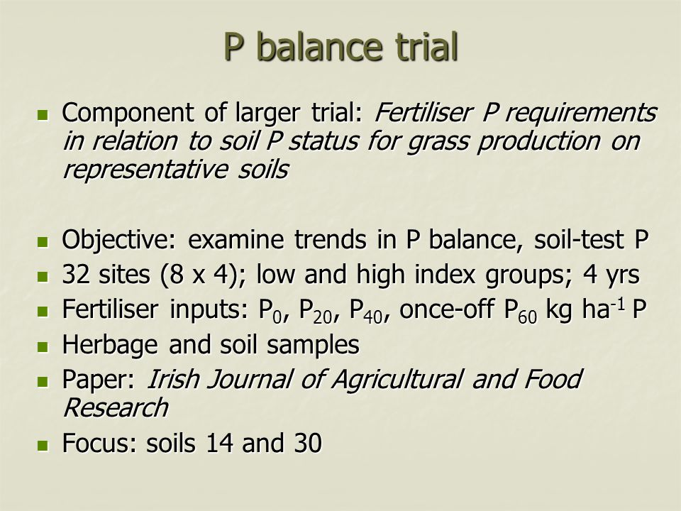 P balance trial Component of larger trial: Fertiliser P requirements in relation to soil P status for grass production on representative soils Compone