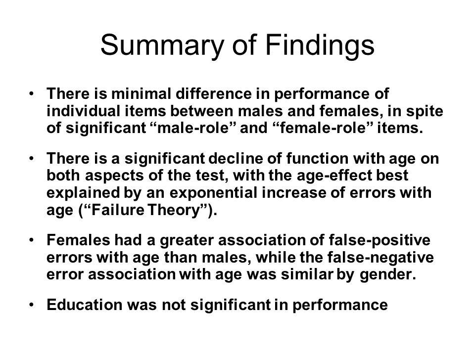 Summary of Findings There is minimal difference in performance of individual items between males and females, in spite of significant male-role and female-role items.