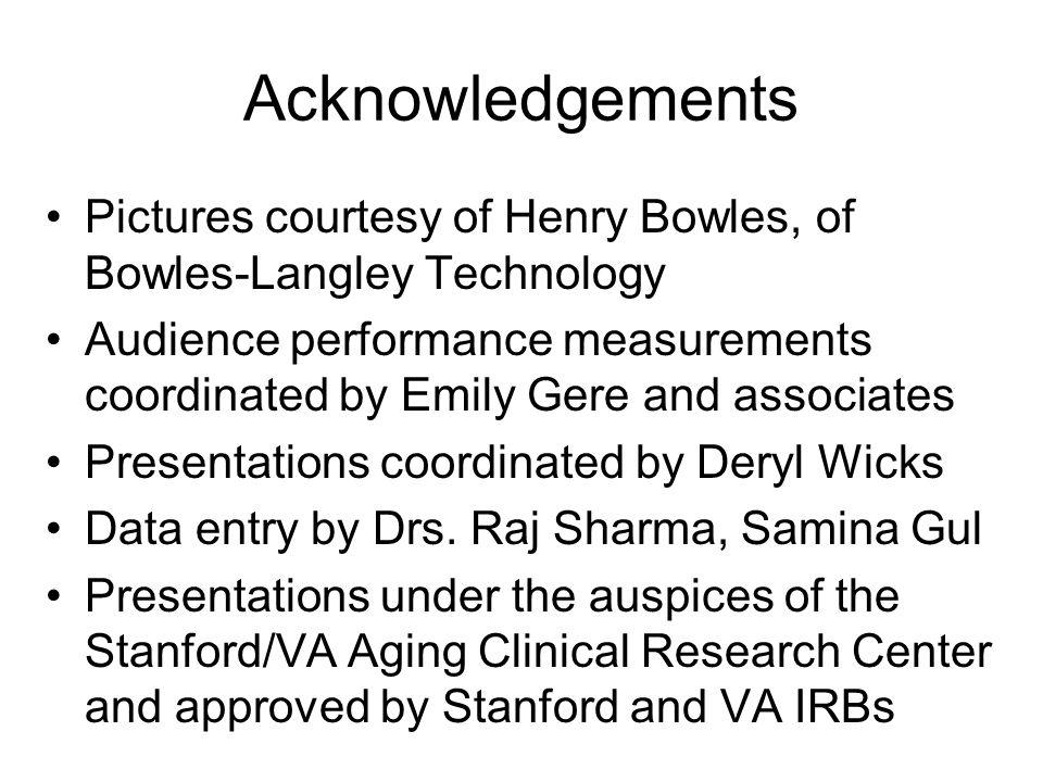 Acknowledgements Pictures courtesy of Henry Bowles, of Bowles-Langley Technology Audience performance measurements coordinated by Emily Gere and associates Presentations coordinated by Deryl Wicks Data entry by Drs.