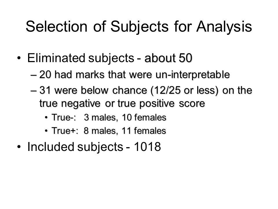Selection of Subjects for Analysis about 50Eliminated subjects - about 50 –20 had marks that were un-interpretable –31 were below chance (12/25 or less) on the true negative or true positive score True-: 3 males, 10 femalesTrue-: 3 males, 10 females True+: 8 males, 11 femalesTrue+: 8 males, 11 females Included subjects - 1018