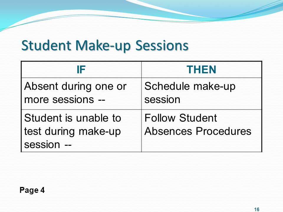 Student Make-up Sessions IFTHEN Absent during one or more sessions -- Schedule make-up session Student is unable to test during make-up session -- Fol