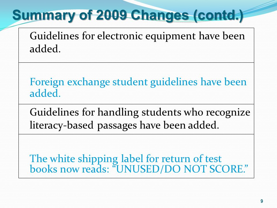 Foreign exchange student guidelines have been added. Guidelines for electronic equipment have been added. Guidelines for handling students who recogni