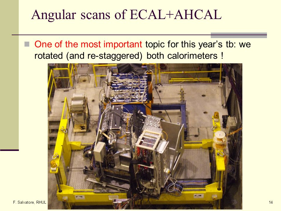 F. Salvatore, RHUL14 Angular scans of ECAL+AHCAL One of the most important topic for this years tb: we rotated (and re-staggered) both calorimeters !