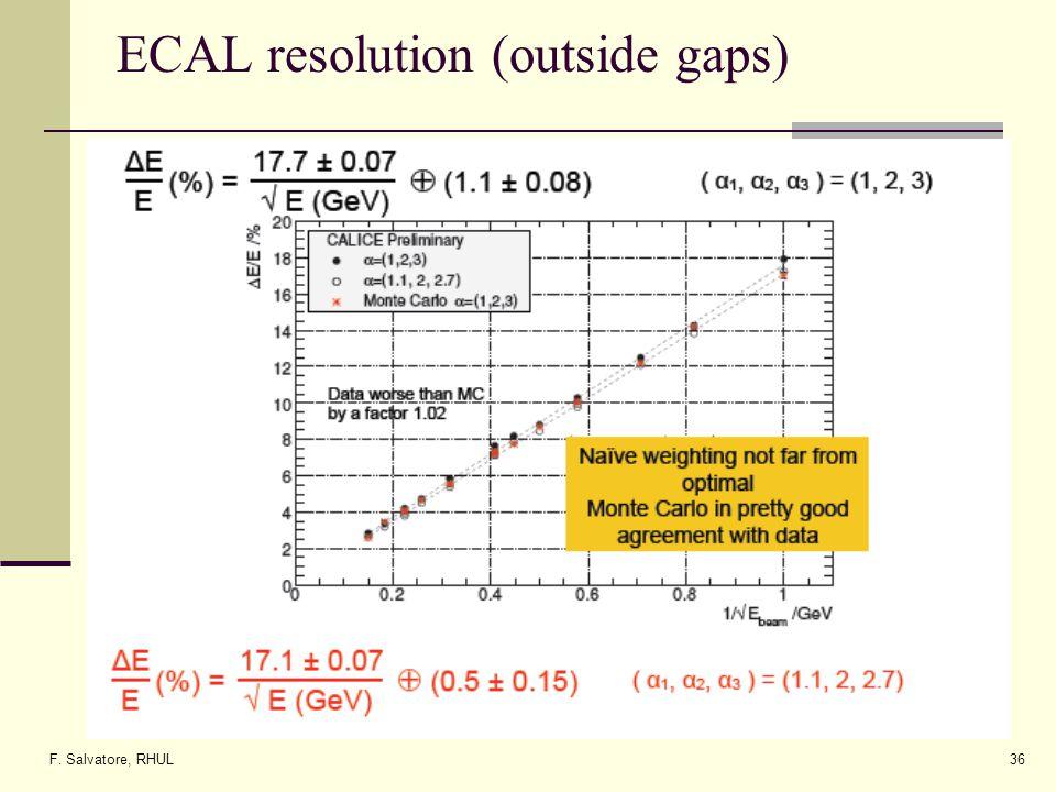 F. Salvatore, RHUL36 ECAL resolution (outside gaps)