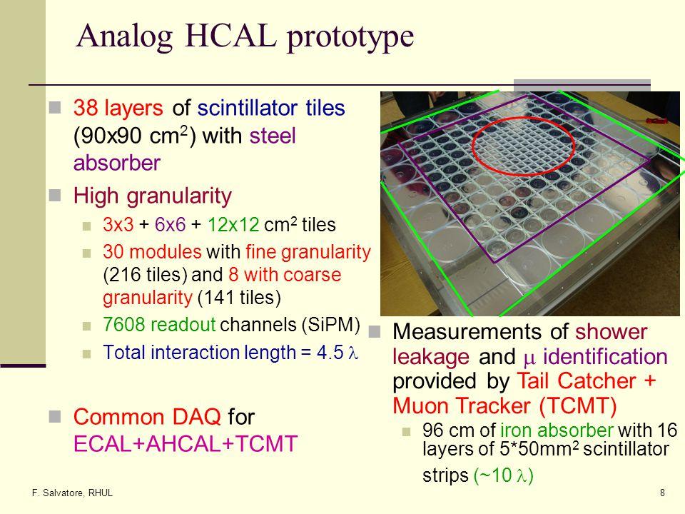 F. Salvatore, RHUL8 Analog HCAL prototype 38 layers of scintillator tiles (90x90 cm 2 ) with steel absorber High granularity 3x3 + 6x6 + 12x12 cm 2 ti