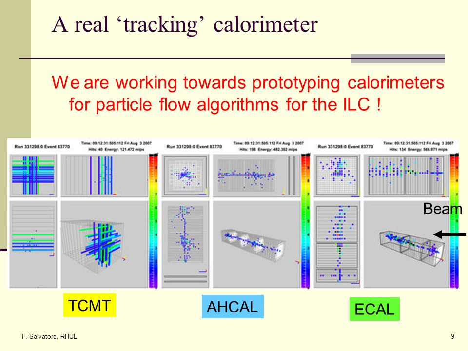 F. Salvatore, RHUL9 A real tracking calorimeter We are working towards prototyping calorimeters for particle flow algorithms for the ILC ! Beam ECAL A