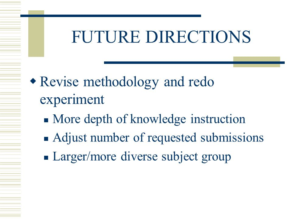 FUTURE DIRECTIONS Revise methodology and redo experiment More depth of knowledge instruction Adjust number of requested submissions Larger/more diverse subject group