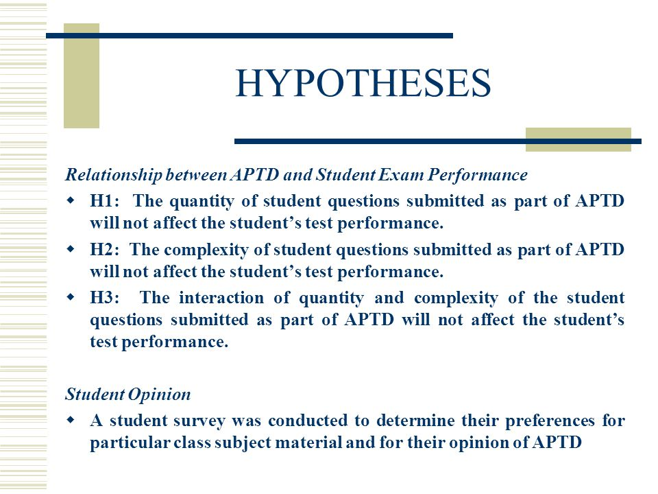 HYPOTHESES Relationship between APTD and Student Exam Performance H1: The quantity of student questions submitted as part of APTD will not affect the students test performance.