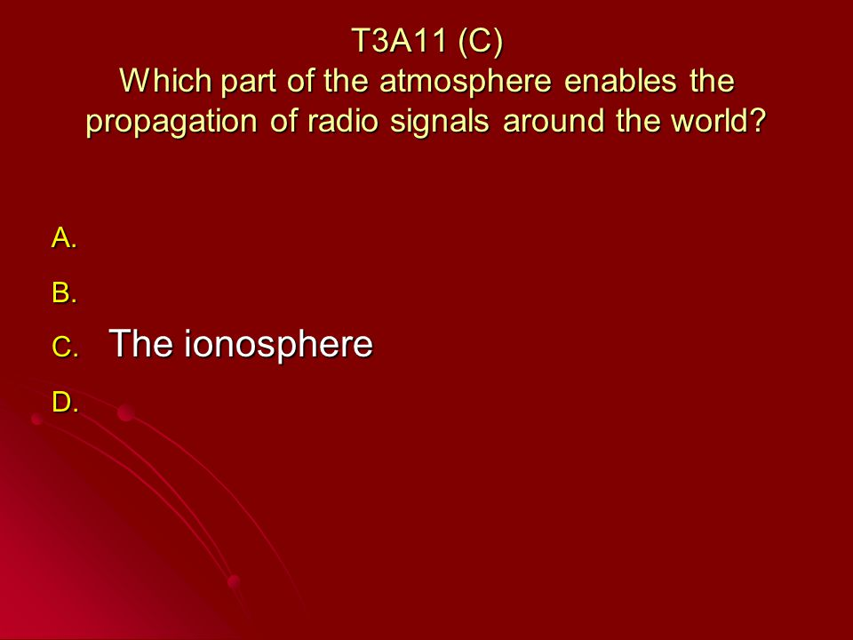 T3A11 (C) Which part of the atmosphere enables the propagation of radio signals around the world.