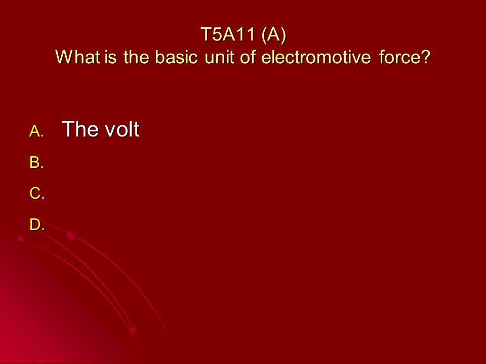 T5A11 (A) What is the basic unit of electromotive force? A. The volt B. B. C. C. D. D.
