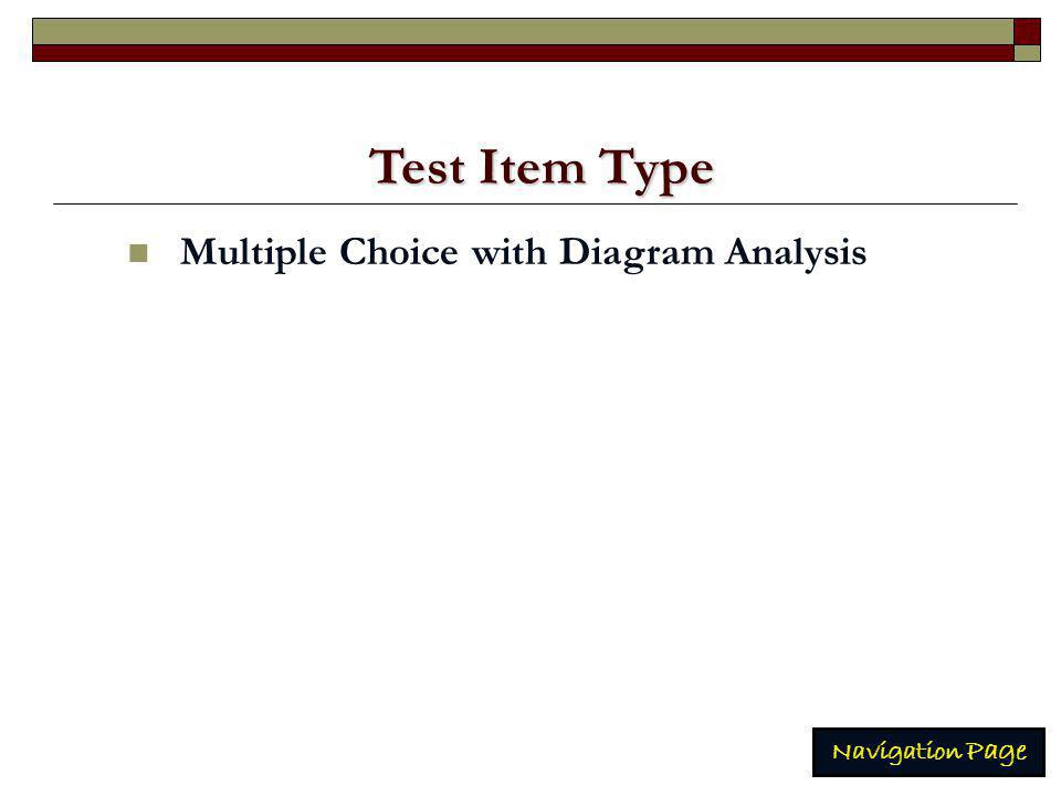 Test Item Type Test Item Type Multiple Choice with Diagram Analysis Navigation Page