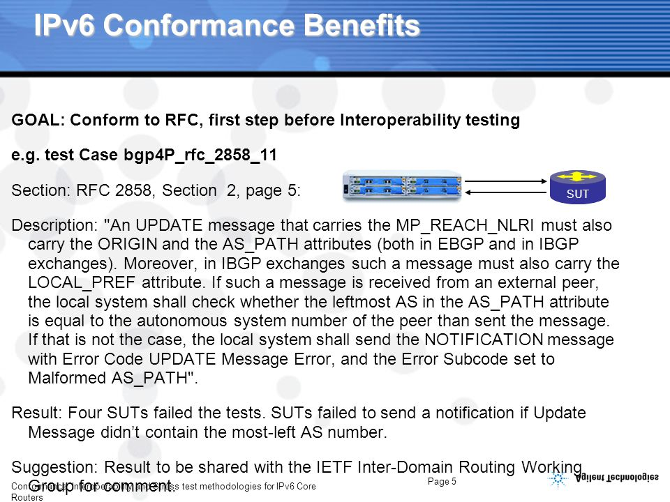 Page 6 Conformance, Interoperability and Stress test methodologies for IPv6 Core Routers IPv6 Interoperability Benefits GOAL: next step after Conformance testing – Proof of Concept for ISP that different Router Implementation will work together – Not locked with Proprietary implementation E.g.