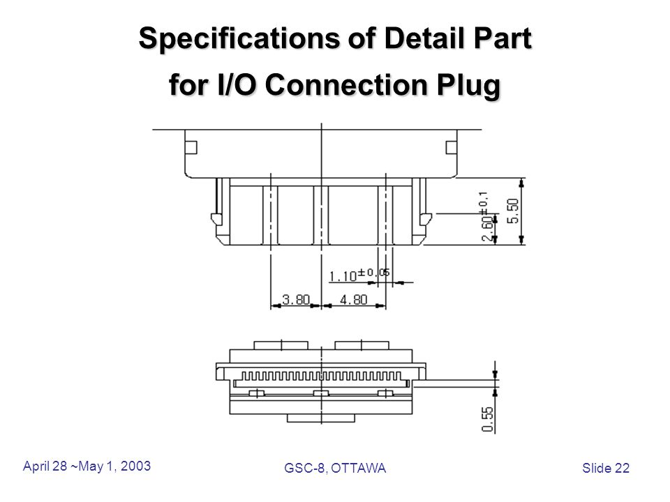 Specifications of Detail Part for I/O Connection Plug April 28 ~May 1, 2003 GSC-8, OTTAWASlide 22