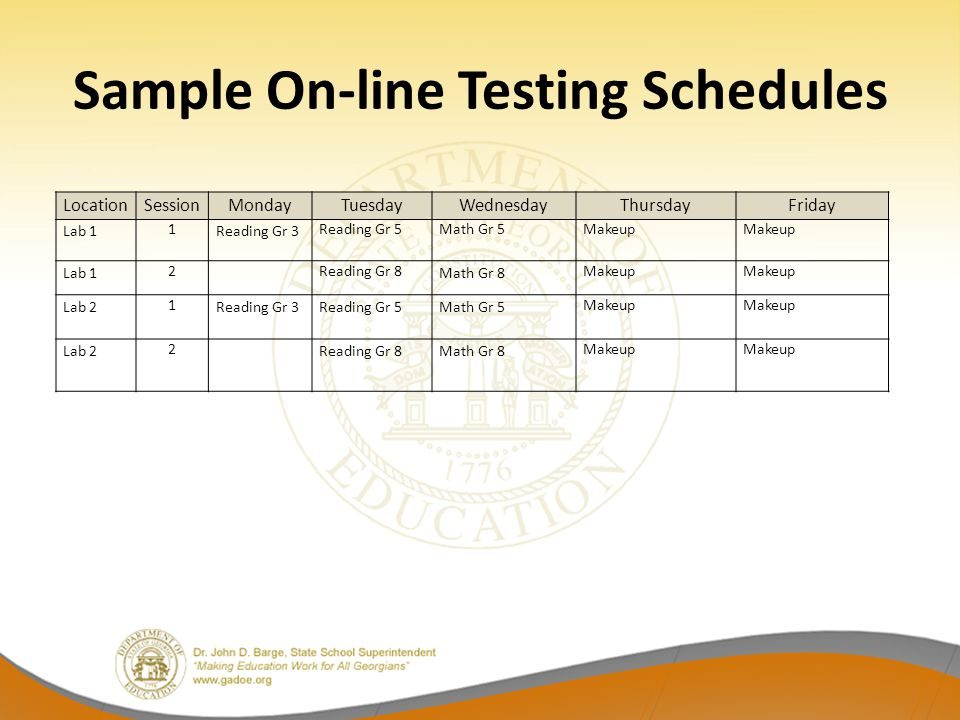Sample On-line Testing Schedules LocationSessionMondayTuesdayWednesdayThursdayFriday Lab 1 1 Reading Gr 3 Reading Gr 5Math Gr 5Makeup Lab 1 2Reading Gr 8 Math Gr 8 Makeup Lab 2 1 Reading Gr 3Reading Gr 5 Math Gr 5 Makeup Lab 2 2 Reading Gr 8Math Gr 8 Makeup