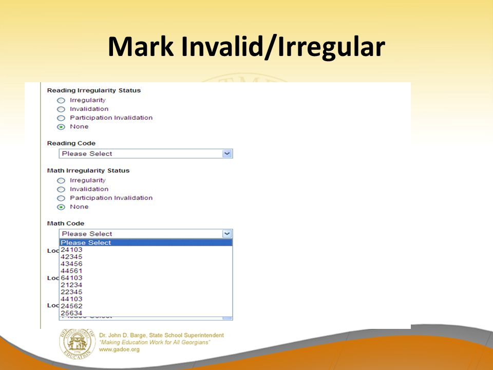 Mark Invalid/Irregular