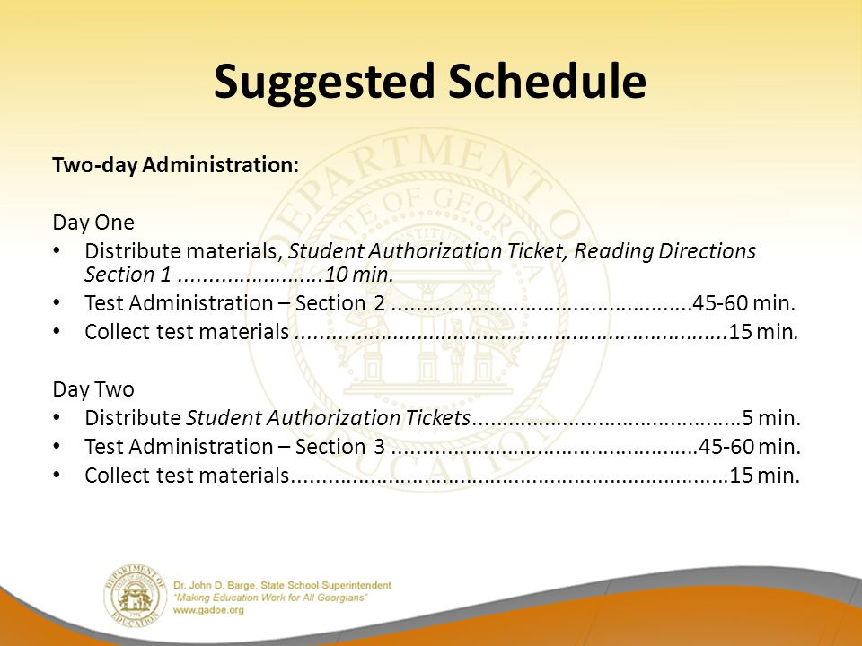 Suggested Schedule Two-day Administration: Day One Distribute materials, Student Authorization Ticket, Reading Directions Section min.