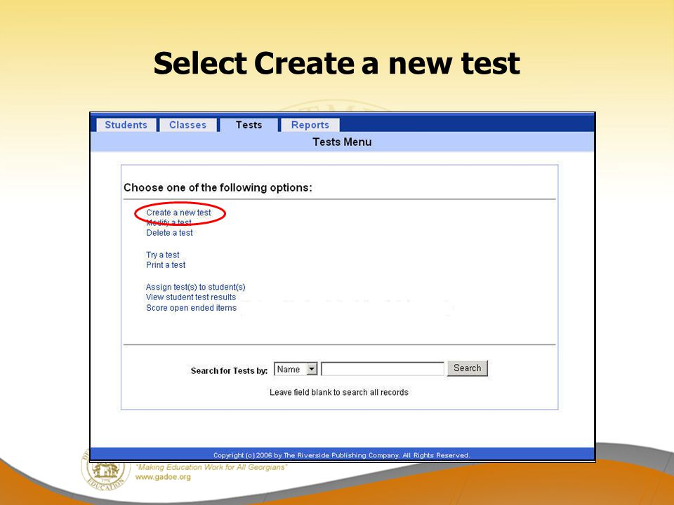 Select Create a new test